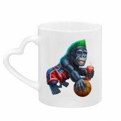 Кружка с ручкой в виде сердца Gorilla and basketball ball