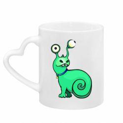 Кружка с ручкой в виде сердца Green monster snail