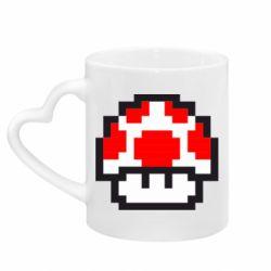 Кружка с ручкой в виде сердца Гриб Марио в пикселях