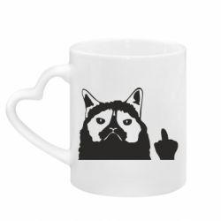 Кружка з ручкою у вигляді серця Grumpy cat F**k Off