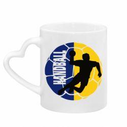 Кружка с ручкой в виде сердца Handball Logo
