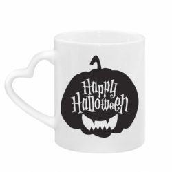 Кружка з ручкою у вигляді серця Happy halloween smile