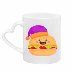 Кружка с ручкой в виде сердца Happy hamburger
