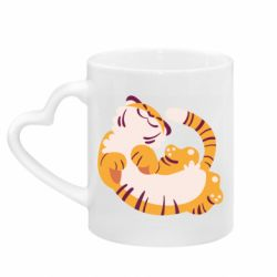 Кружка с ручкой в виде сердца Happy tiger