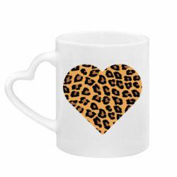 Кружка с ручкой в виде сердца Heart with leopard hair