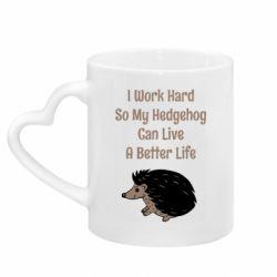 Кружка с ручкой в виде сердца Hedgehog with text