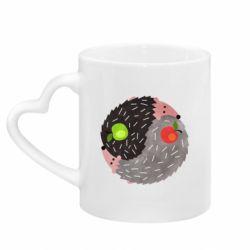 Кружка з ручкою у вигляді серця Hedgehogs yin-yang