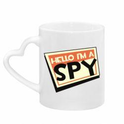 Кружка з ручкою у вигляді серця Hello i'm a spy