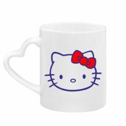 Кружка с ручкой в виде сердца Hello Kitty logo