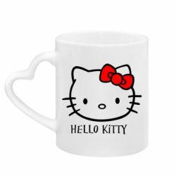 Кружка с ручкой в виде сердца Hello Kitty
