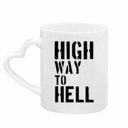 Кружка с ручкой в виде сердца High way to hell