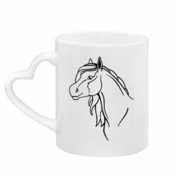 Кружка с ручкой в виде сердца Horse contour