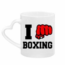 Кружка с ручкой в виде сердца I love boxing
