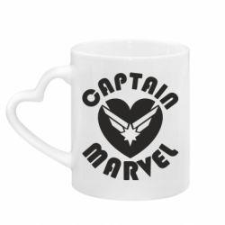 Кружка з ручкою у вигляді серця I love Captain Marvel