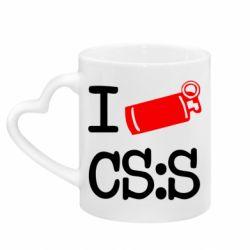Кружка с ручкой в виде сердца I love CS Source