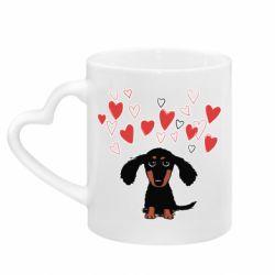 Кружка з ручкою у вигляді серця I love dachshund