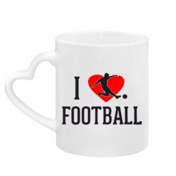 Кружка з ручкою у вигляді серця I love football