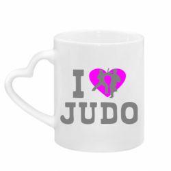 Кружка с ручкой в виде сердца I love Judo