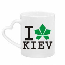 Кружка з ручкою у вигляді серця I love Kiev - з листком