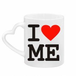 Кружка с ручкой в виде сердца I love ME