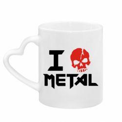 Кружка с ручкой в виде сердца I love metal