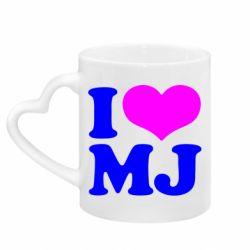 Кружка с ручкой в виде сердца I love MJ