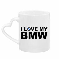 Кружка з ручкою у вигляді серця I love my BMW