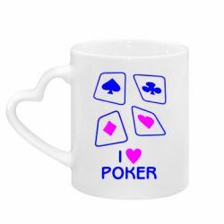 Кружка з ручкою у вигляді серця I love poker