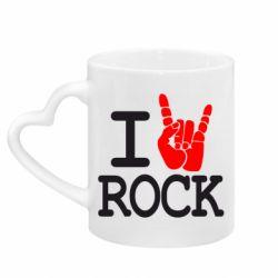 Кружка с ручкой в виде сердца I love rock