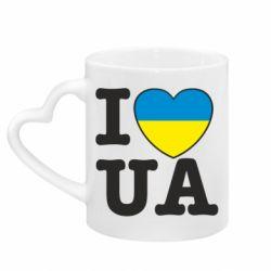 Кружка с ручкой в виде сердца I love UA