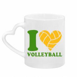 Кружка з ручкою у вигляді серця I love volleyball