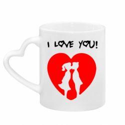 Кружка с ручкой в виде сердца I love you