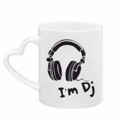 Кружка с ручкой в виде сердца I'm DJ
