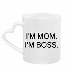 Кружка з ручкою у вигляді серця I'm mom. i'm boss.