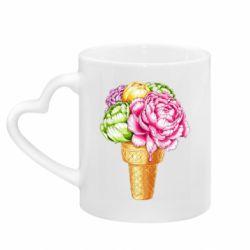 Кружка з ручкою у вигляді серця Ice cream flowers