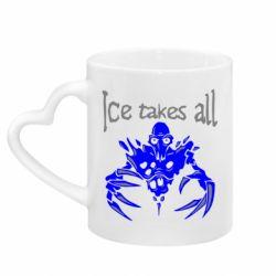 Кружка с ручкой в виде сердца Ice takes all Dota