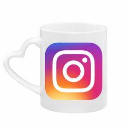 Кружка з ручкою у вигляді серця Instagram Logo Gradient