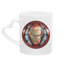 Кружка з ручкою у вигляді серця Iron man helmet wood texture
