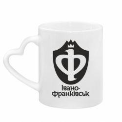 Кружка с ручкой в виде сердца Ивано-Франковск эмблема