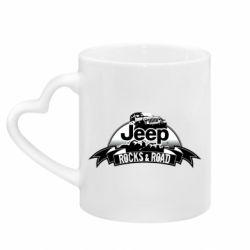 Кружка с ручкой в виде сердца Jeep rocks