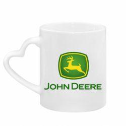 Кружка з ручкою у вигляді серця John Deere logo