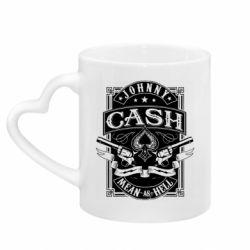 Кружка з ручкою у вигляді серця Johnny cash mean as hell