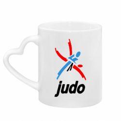 Кружка з ручкою у вигляді серця Judo Logo