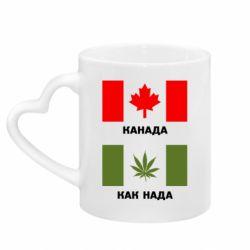 Кружка с ручкой в виде сердца Канада Как надо