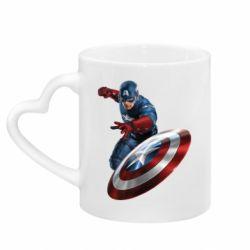 Кружка с ручкой в виде сердца Капитан Америка