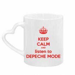 Кружка с ручкой в виде сердца KEEP CALM and LISTEN to DEPECHE MODE