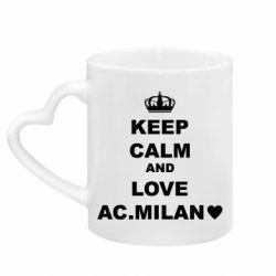 Кружка з ручкою у вигляді серця Keep calm and love AC Milan