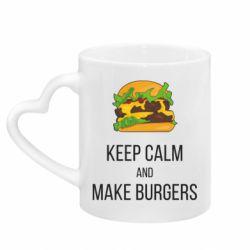 Кружка с ручкой в виде сердца Keep calm and make burger
