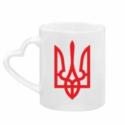Кружка з ручкою у вигляді серця Класичний герб України