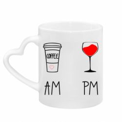 Кружка з ручкою у вигляді серця Кофе и бокал с вином